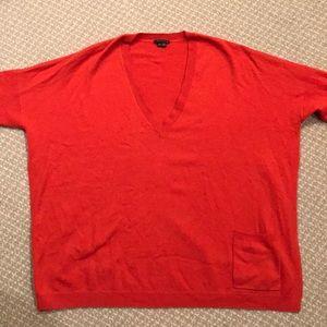 Theory oversize orange cashmere sweater
